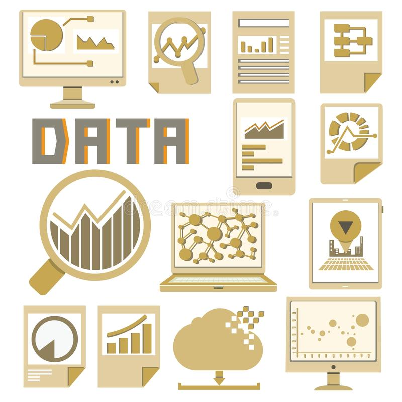 Data icons. Set of data and document icons in white background vector illustration