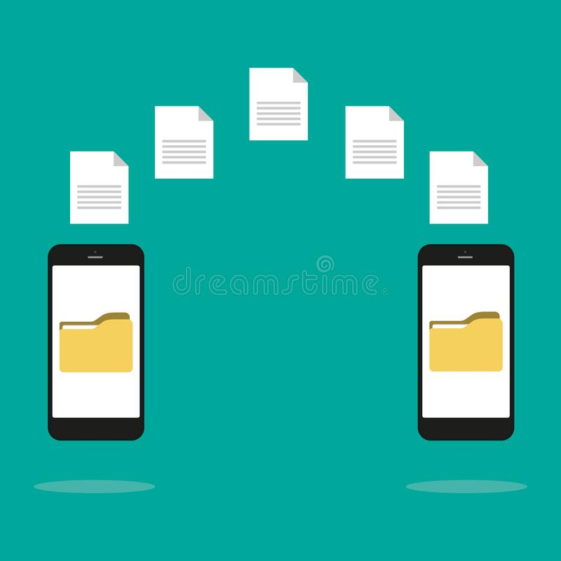 Data image file transfer between device smartphone. File transfer copy files data sheet exchange concept. Vector flat cartoon royalty free illustration