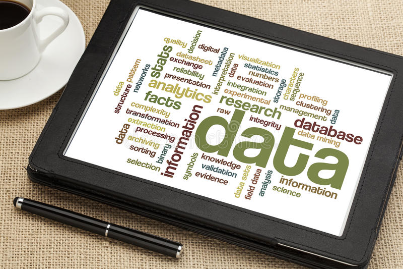 Data and information data cloud stock images