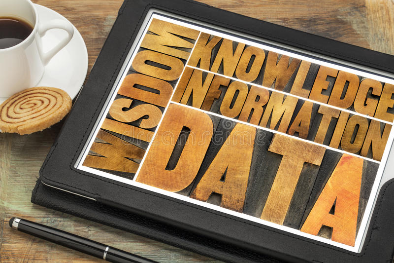 Data, information, knowledge, wisdom concept. Data, information, knowledge and wisdom - word abstract in vintage letterpress wood type on a digital tablet with a royalty free stock photography