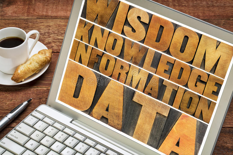Data, information, knowledge, wisdom concept. Data, information, knowledge and wisdom - word abstract in vintage letterpress wood type on a laptop screen stock image
