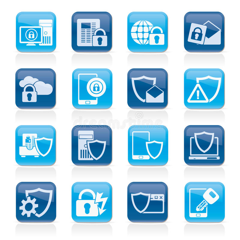 Data And Information Protection Security Icons Stock ...