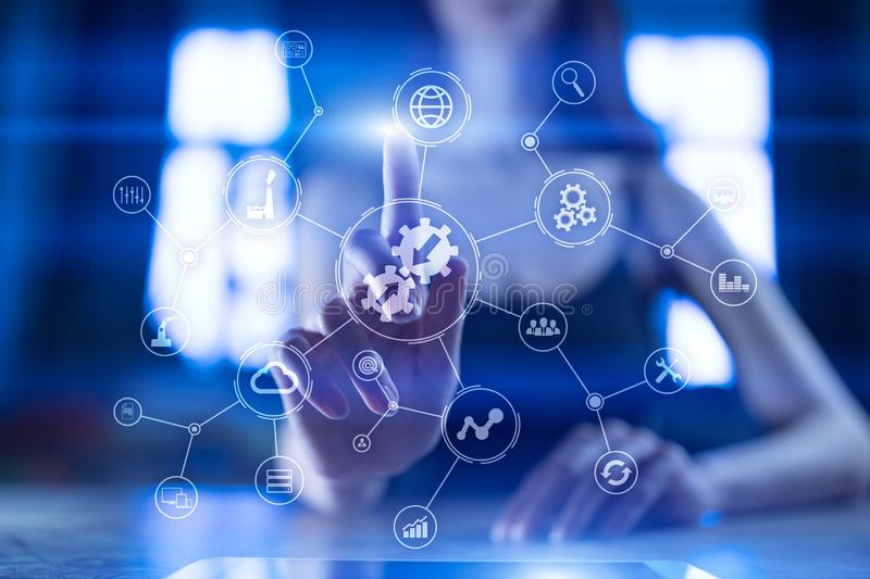 Data integration diagram and process automation business internet technology concept on virtual screen. stock photography
