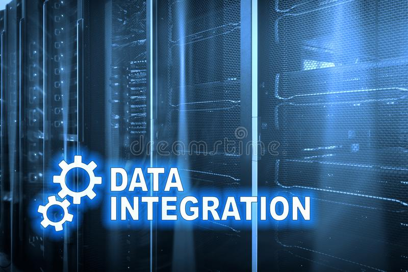 Data integration information technology concept on server room background royalty free stock photos