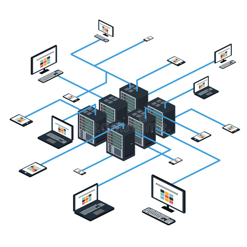 Data isometric set and network elements vector stock photography