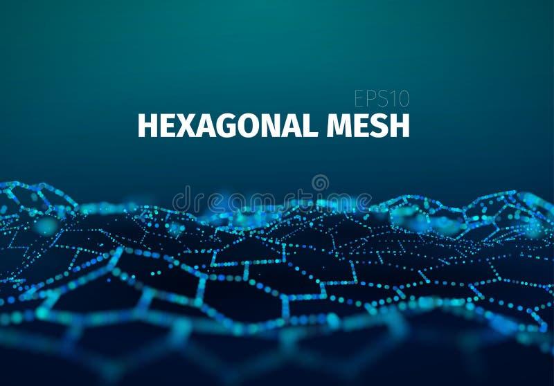 Data kopplar ihop anslutning futuristisk blå bakgrund 3d Sexhörnigt partikelraster stock illustrationer