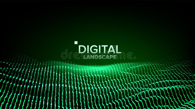 Data Landscape Vector. Energy Space. Topography Code. Array Design. Data Technology. Wave Mountain. 3D Illustration royalty free illustration