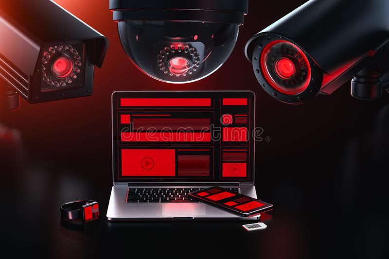 Data leakage concept. Three different cctv camera is spying on a computer checking for sensitive data, passwords. 3D rendering. Data leakage concept. Three stock illustration