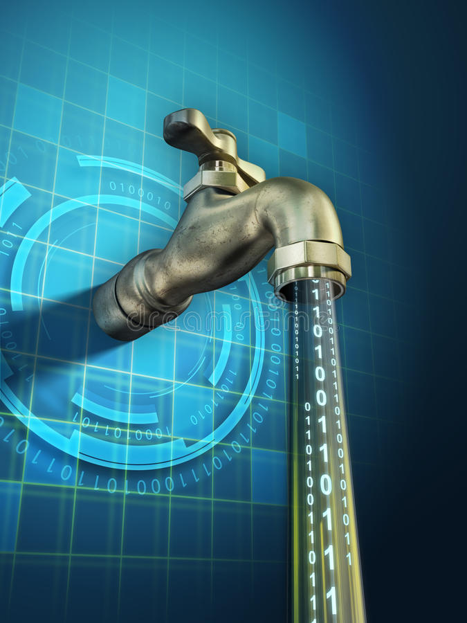 Data leaking. Sensitive information is leaking through an open faucet. Digital illustration