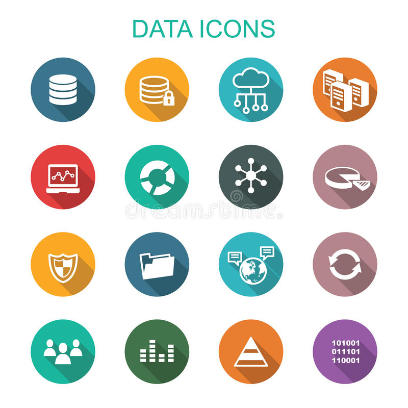 Data long shadow icons royalty free illustration