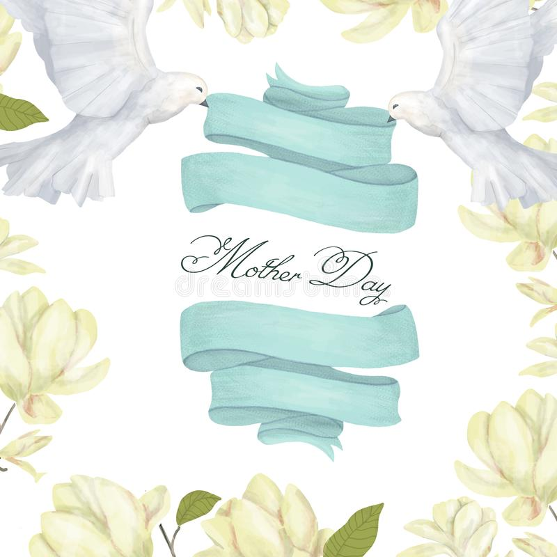 Data magnolia pegeon ribbon weeding mother day clip art drawing magic illustration fantasy birthday greeting card print ribbon geo. Data magnolia clip art vector illustration