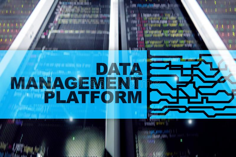 Data management and analysis platform concept on server room background. Data management and analysis platform concept on server room backgroun vector illustration