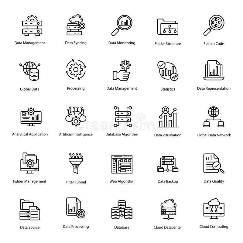Data Management Line Icons Pack royalty free illustration