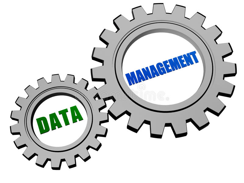 Data management in silver grey gears vector illustration