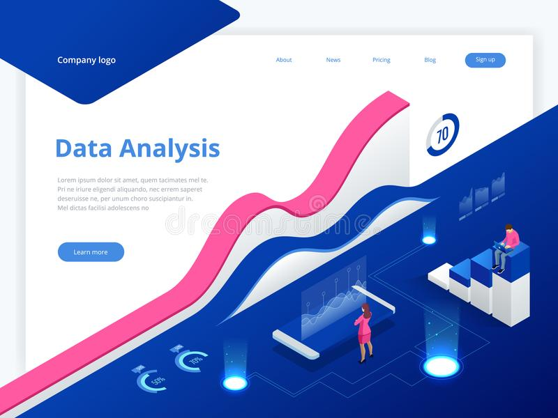 Data Management System and Business Analytics Concept isometric vector illustration. Hosting Server or Data Center Room stock illustration
