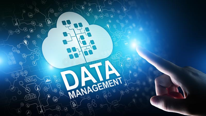 Data management system, cloud technology, Internet and business concept. stock photos