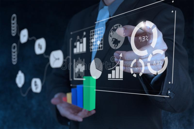 Data Management System DMS with Business Analytics concept. stock images