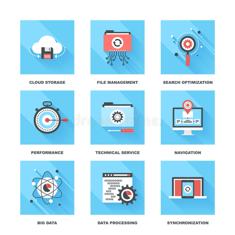 Data Management. Vector set of flat data management icons on following themes - cloud storage, file management, search optimization, performance, technical royalty free illustration