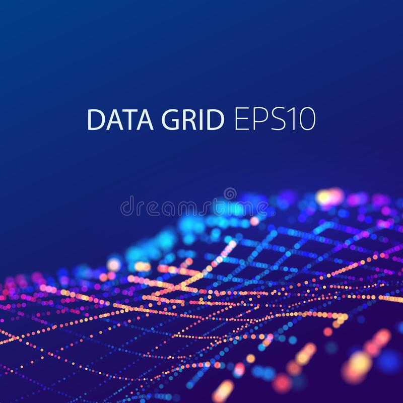 Data mesh connection. 3d futuristic background. Energy colorful wave vector illustration