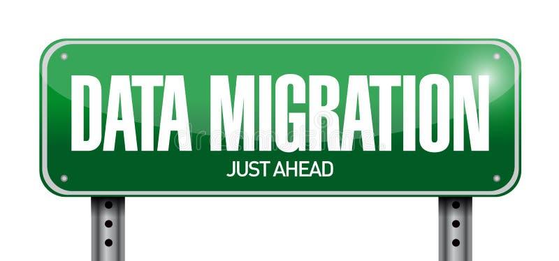 Data migration road sign illustration stock illustration