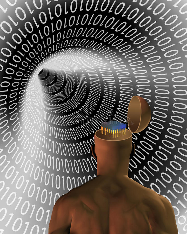Data mind. Binary code tunnel and man with chip stock illustration