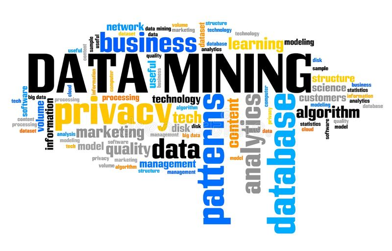 Data mining concept. Data mining - online info harvesting and storage technology concept. Word cloud royalty free illustration