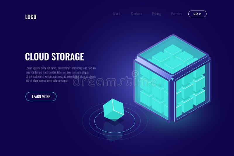 Data mining, elaborante concetto isometrico di grandi dati, cucciolo di tecnologia, intelligenza artificiale ai, stanza del serve illustrazione di stock