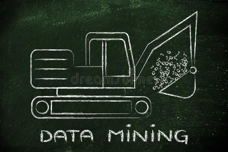 Data mining: funny digger extracting binary code royalty free stock photo