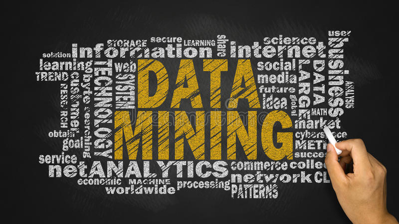Data mining word cloud royalty free stock photos