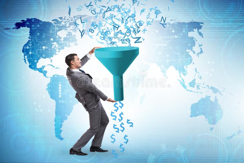 Data monetization concept with funnel and businessman. Data monetization concept with the funnel and businessman stock photo