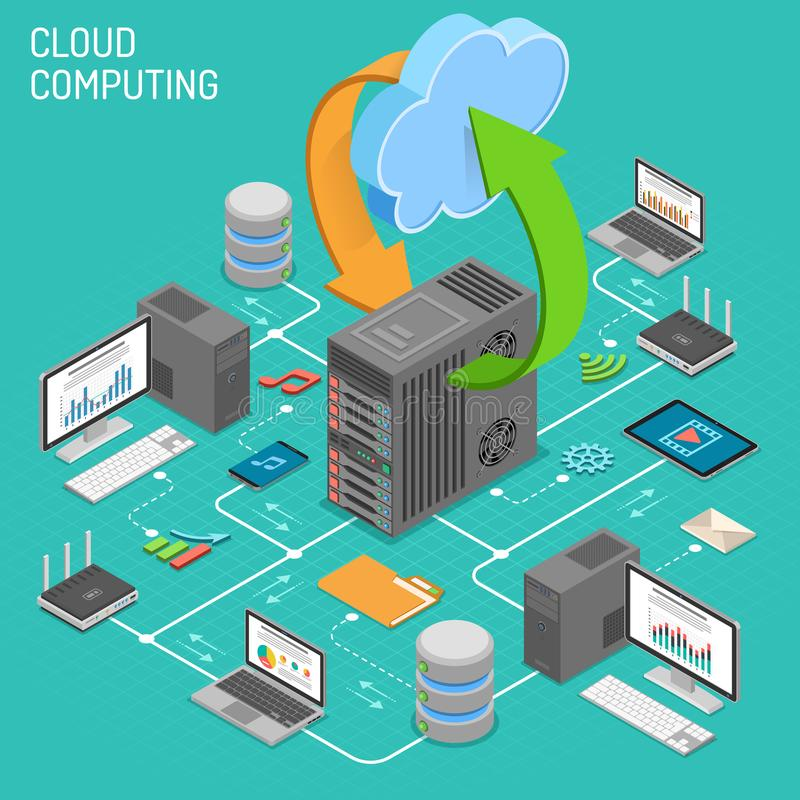 Data Network Cloud Computing Technology Isometric. Business concept with network server, computer, laptop, router and multimedia icons. Storage and transfer stock illustration