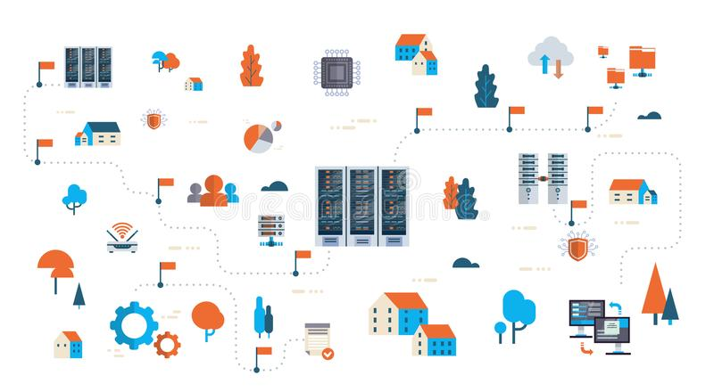 Data network flowchart server map isometric cloud storage synchronization internet connection database center concept vector illustration