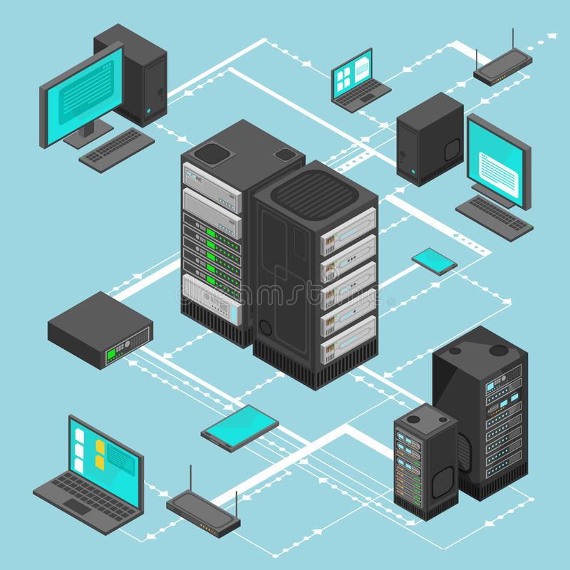 Data network management vector isometric map with business networking servers, computers and device. Server data information map illustration royalty free illustration