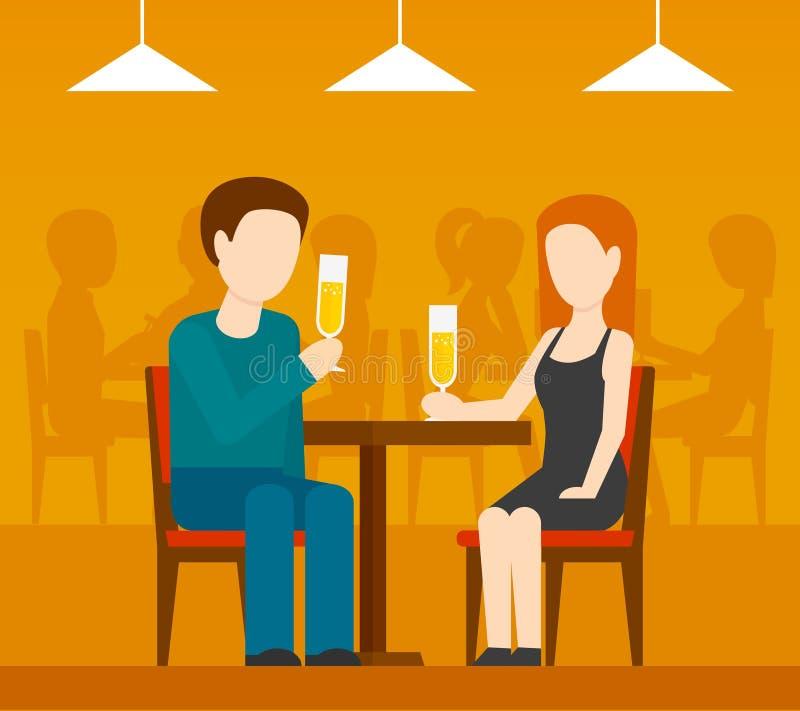Data no restaurante ilustração royalty free