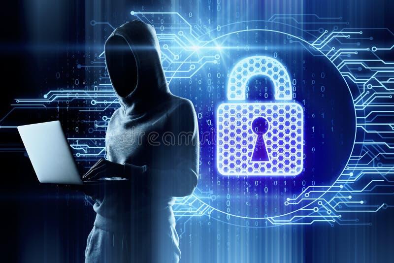 Data och hackabegrepp royaltyfri bild
