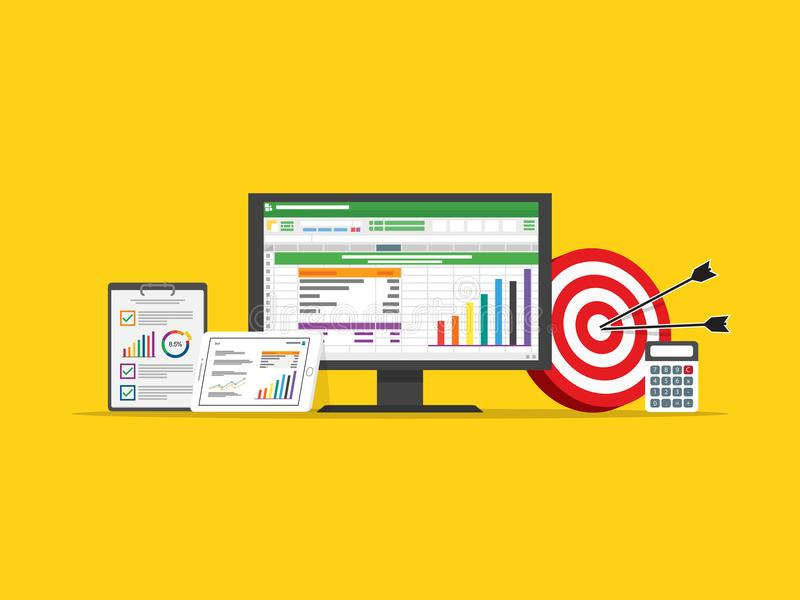 Data och marknadsföringen för räknearkaffärsfinans uppsätta som mål strategi stock illustrationer