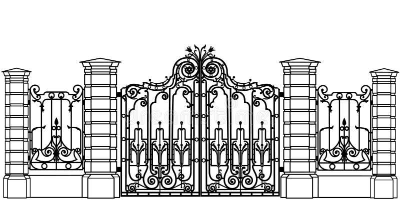 Data och staket royaltyfri illustrationer