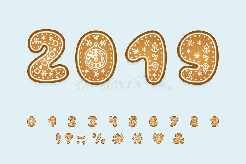 Data 2019 per i temi del nuovo anno Fonte del pan di zenzero, insieme dei numeri e segni di interpunzione illustrazione di stock