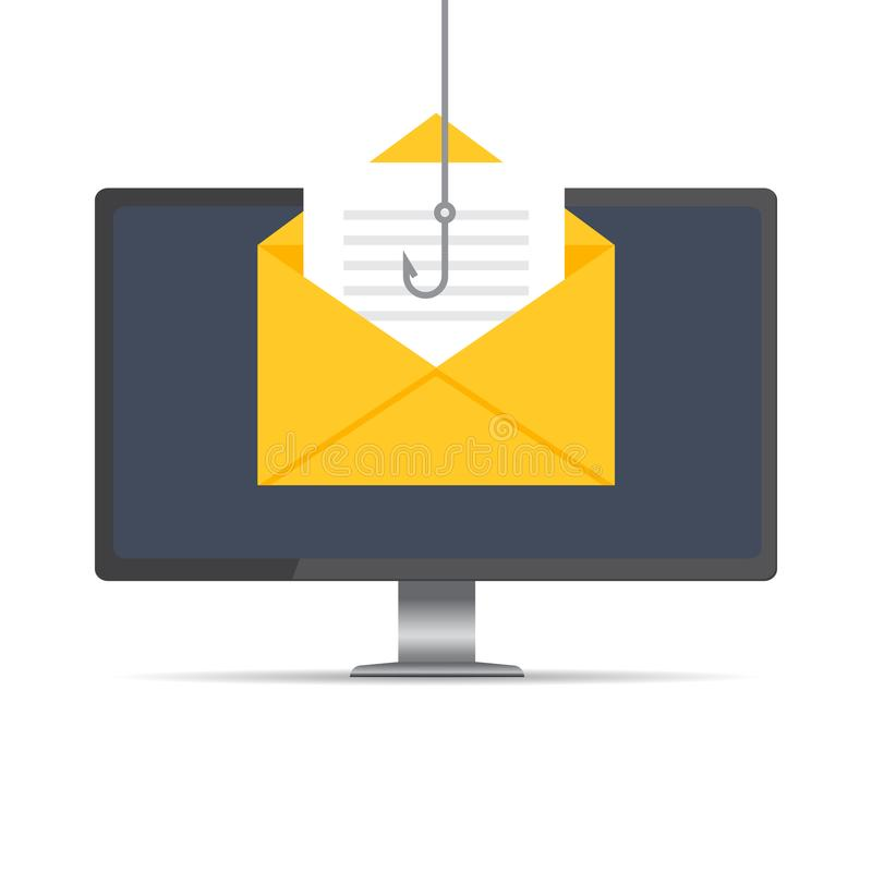 Data phishing, hacking online scam on computer Desktop concept. Fishing by email, envelope and fishing hook. Cyber thief. Vector illustration.n vector illustration
