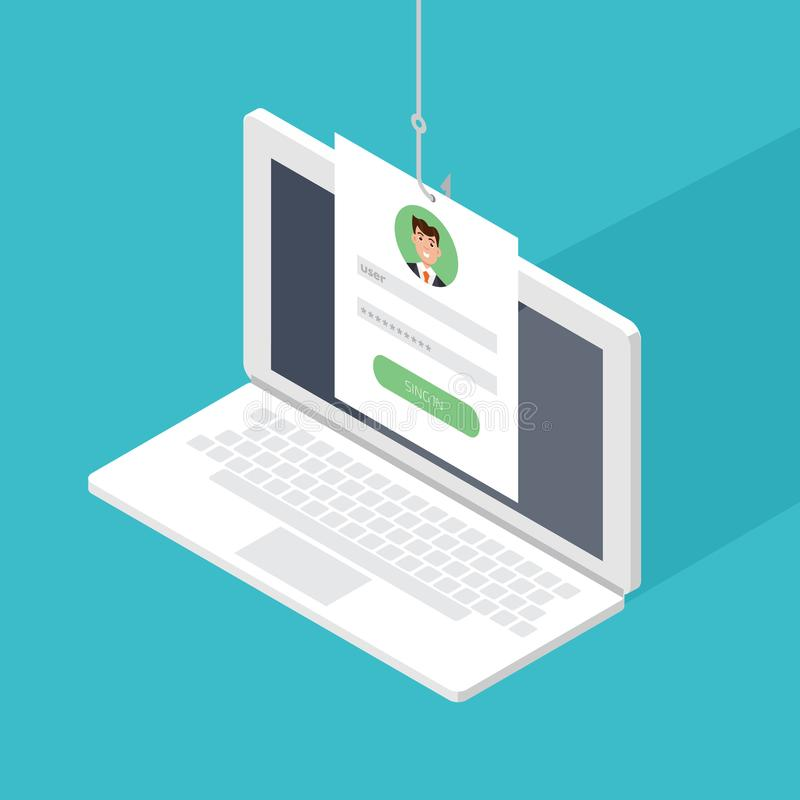 Data phishing, hacking online scam on computer laptop concept. Fishing by email, envelope and fishing hook. Cyber thief. Vector illustration stock illustration