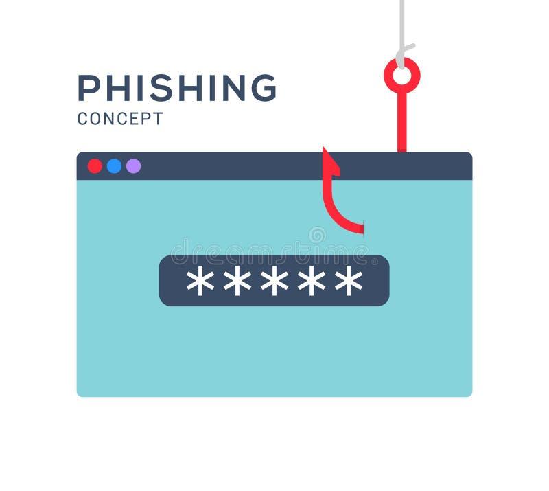 Data phishing hacking online. Scam envelope concept. Computer data fishing hack crime.  vector illustration