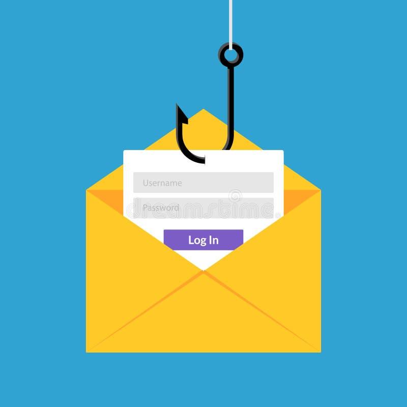 Data phishing hacking online. Scam envelope concept. Computer data fishing hack crime.  royalty free illustration