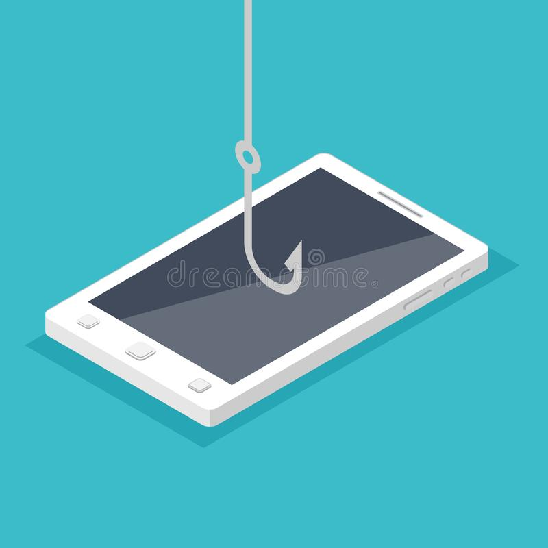 Data phishing, hacking online scam on smartphone concept. Fishing by email, envelope and fishing hook. Cyber thief. Vector illustration vector illustration