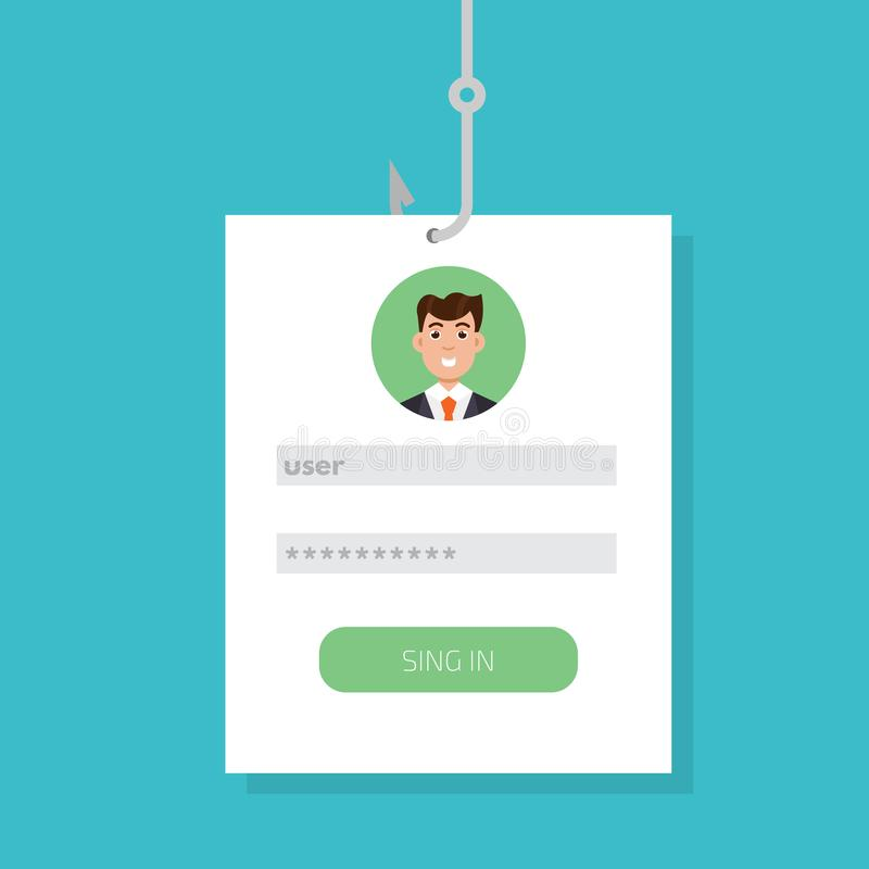 Data phishing, hacking online scam on smartphone concept. Fishing by email, envelope and fishing hook. Cyber thief. Vector illustration stock illustration