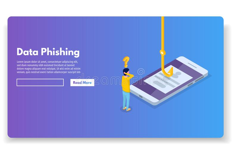 Data phishing isometric, hacking online scam. Fishing by email, envelope and hook. Cyber thief. Vector illustration stock illustration