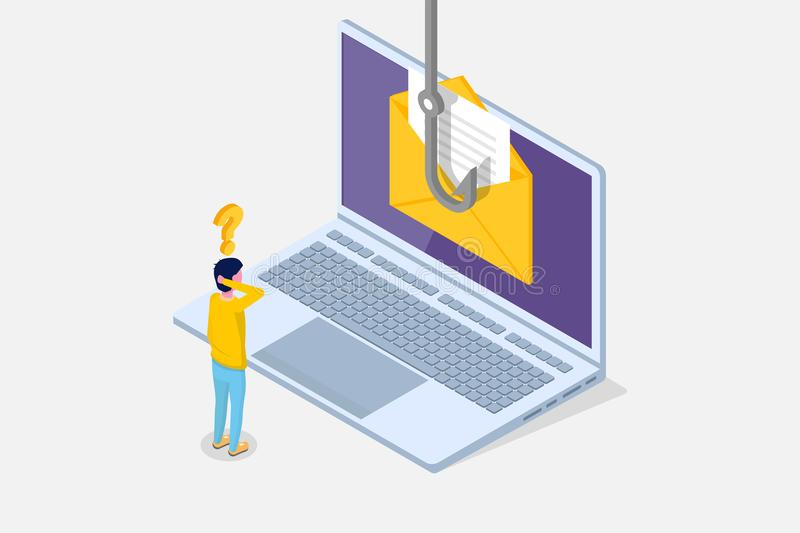 Data phishing isometric, hacking online scam on laptop concept. Fishing by email, envelope and fishing hook. Cyber thief. Vector illustration vector illustration