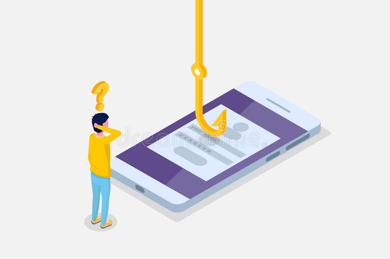 Data phishing isometric, hacking online scam on smartphone concept. Fishing by email, envelope and fishing hook. Cyber thief. Vector illustration stock illustration
