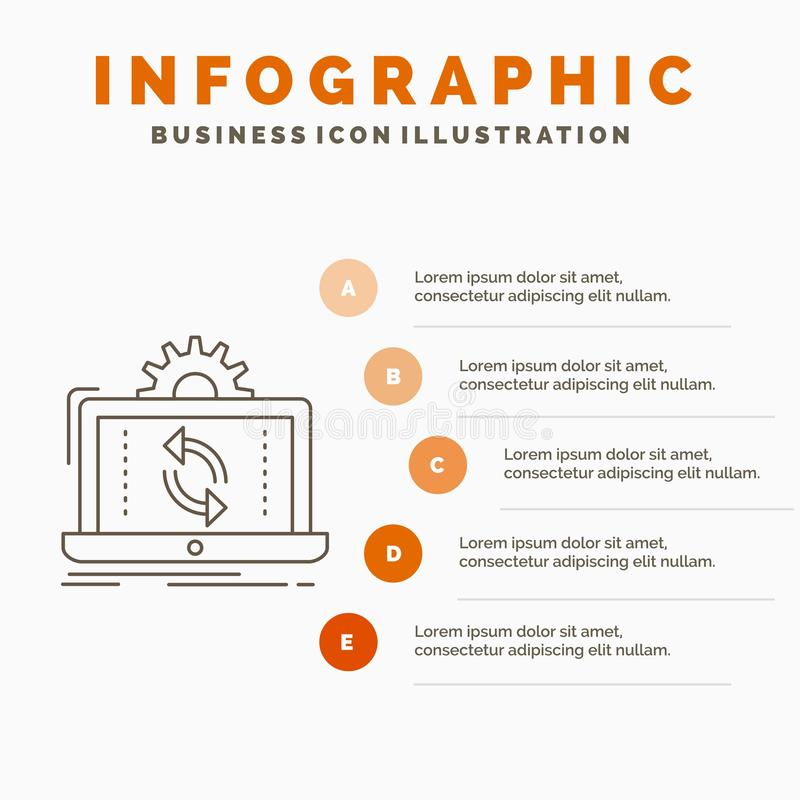 data, processing, Analysis, reporting, sync Infographics Template for Website and Presentation. Line Gray icon with Orange vector illustration