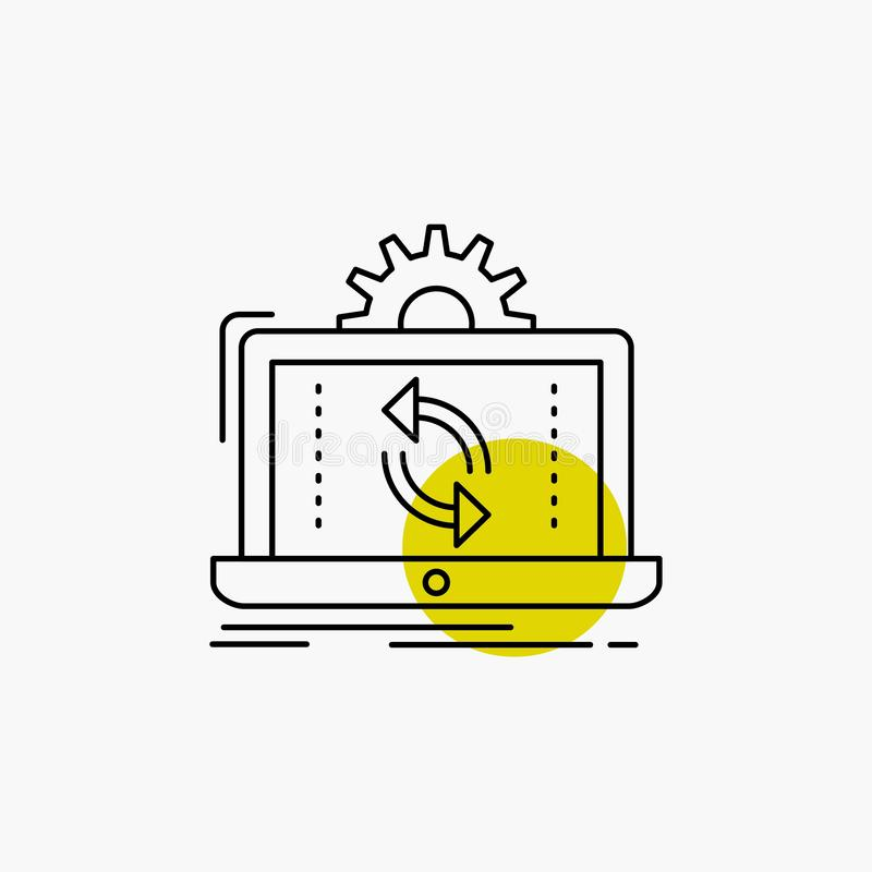 data, processing, Analysis, reporting, sync Line Icon stock illustration
