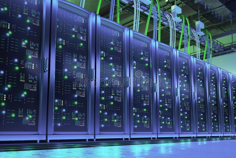 Data processing center. Server room stock illustration